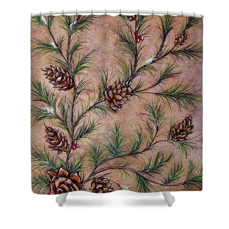 Acrylic Shower Curtain featuring the painting Pine Cones And Spruce Branches by Nancy Mueller