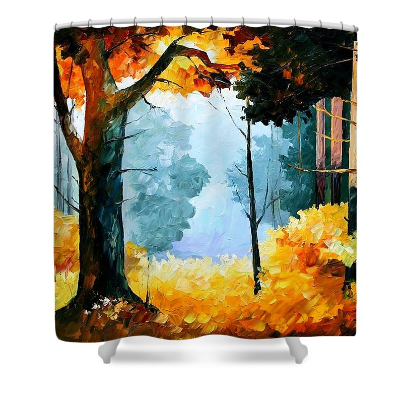 Afremov Shower Curtain featuring the painting Pine Wood by Leonid Afremov
