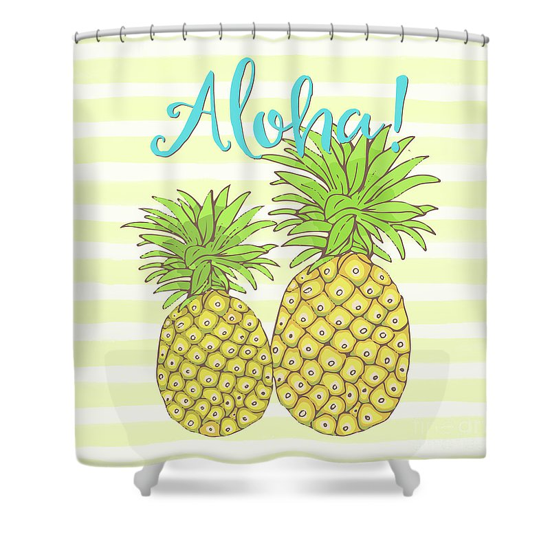 Pineapple Shower Curtain Featuring The Painting Aloha Tropical Fruit Of Welcome Hawaii By Tina Lavoie