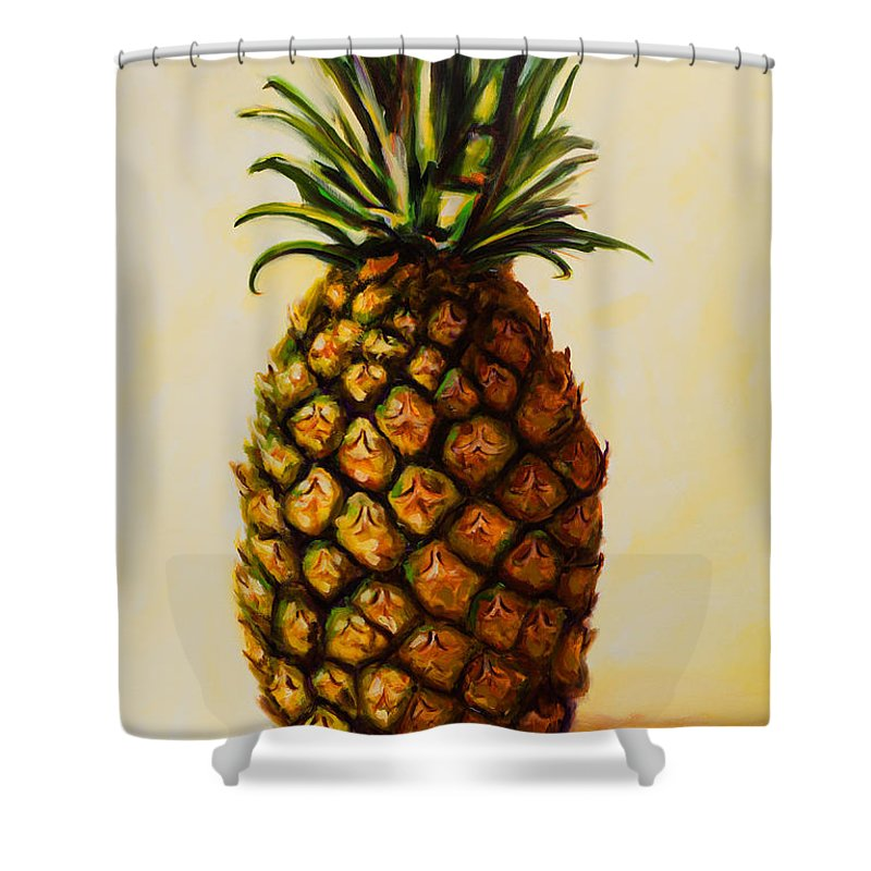 Pineapple Shower Curtain featuring the painting Pineapple Angel by Shannon Grissom