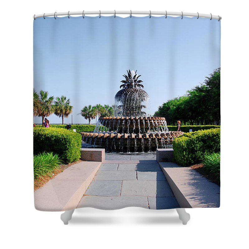 Photography Shower Curtain featuring the photograph Pineapple Fountain In Charleston by Susanne Van Hulst