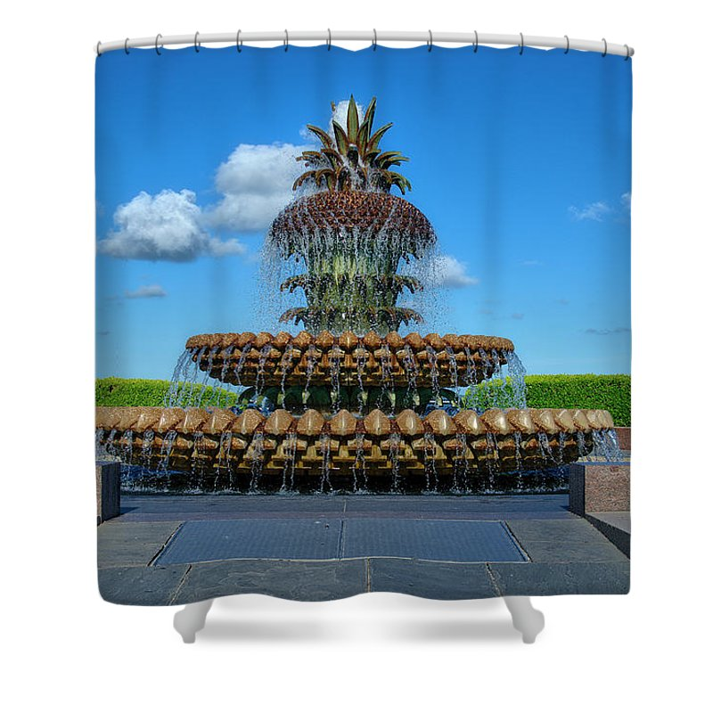 Pineapple Shower Curtain featuring the photograph Pineapple Fountain by TJ Baccari