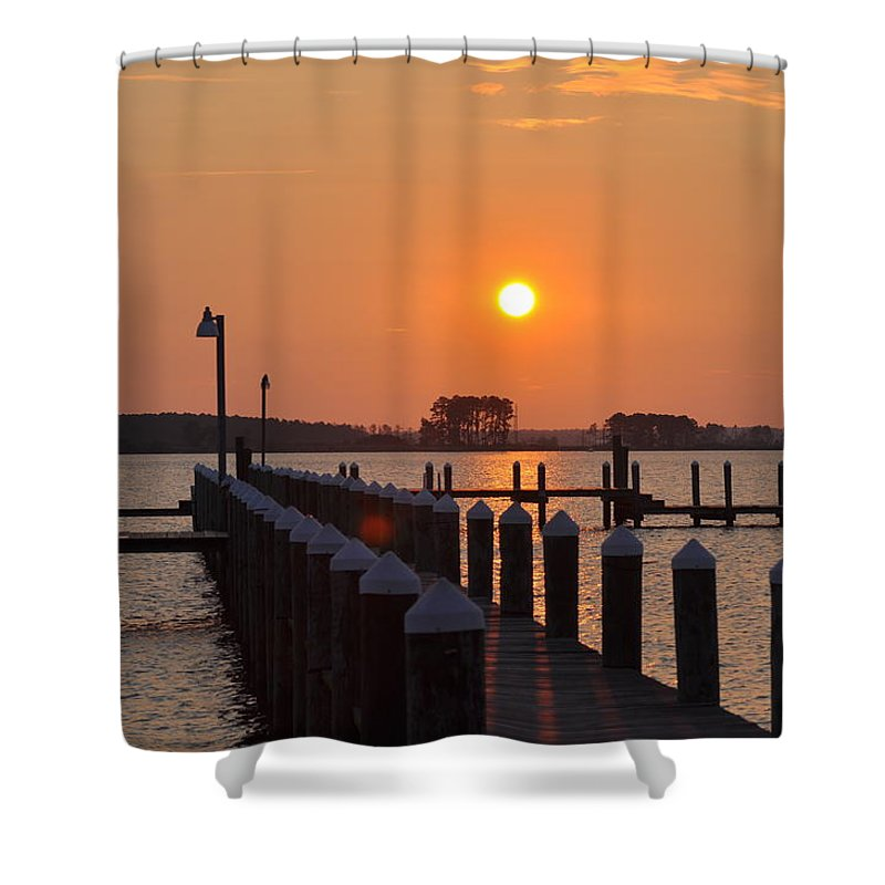 Piney Point Shower Curtain featuring the photograph Piney Point Sunrise by Bill Cannon
