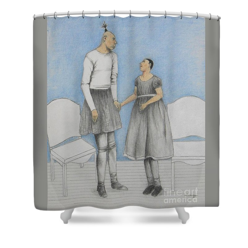 Microcephalic Shower Curtain featuring the drawing Pinhead Friends -- Portrait Of 2 Developmentally Disabled Men by Jayne Somogy