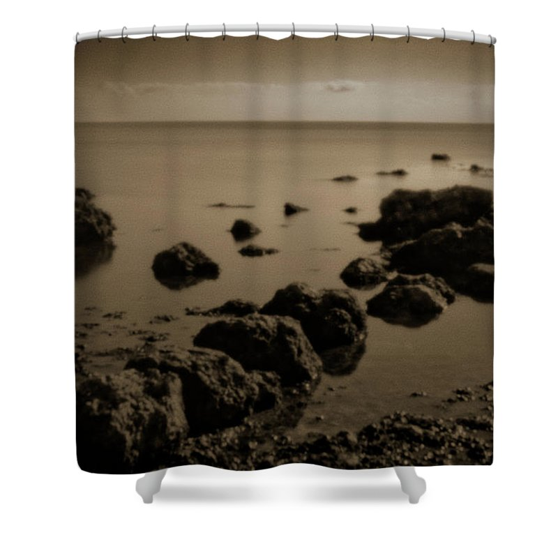 Pinhole Shower Curtain featuring the photograph Pinhole Seascape 3135sepia by Rudy Umans