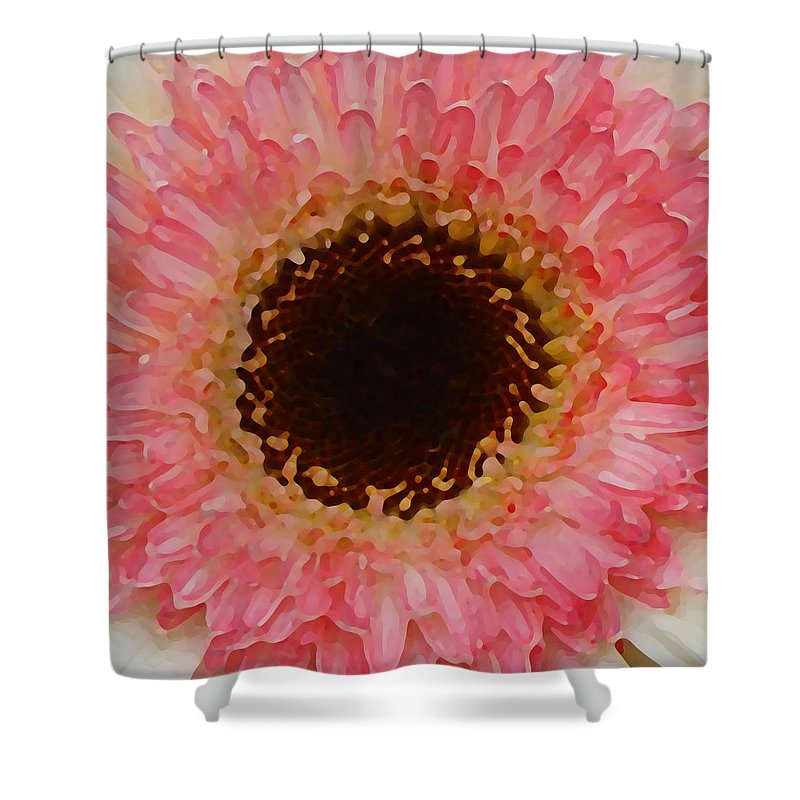 Daisy Shower Curtain featuring the painting Pink And Brown Gerber Center by Amy Vangsgard
