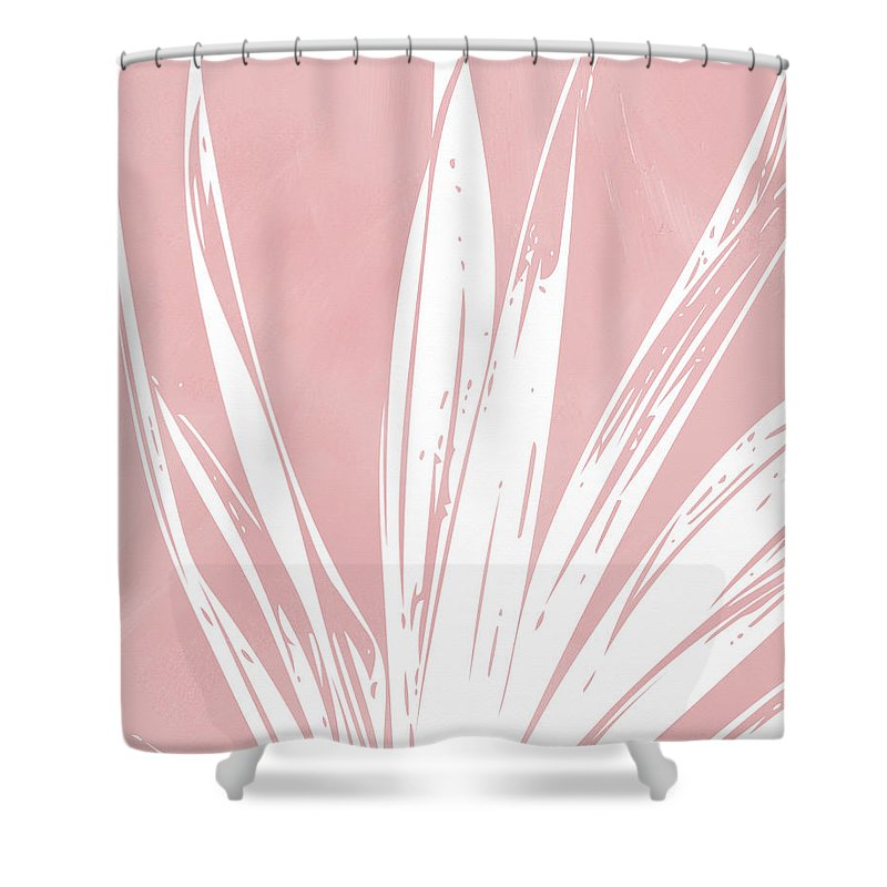 Leaf Shower Curtain featuring the mixed media Pink And White Tropical Leaf- Art By Linda Woods by Linda Woods