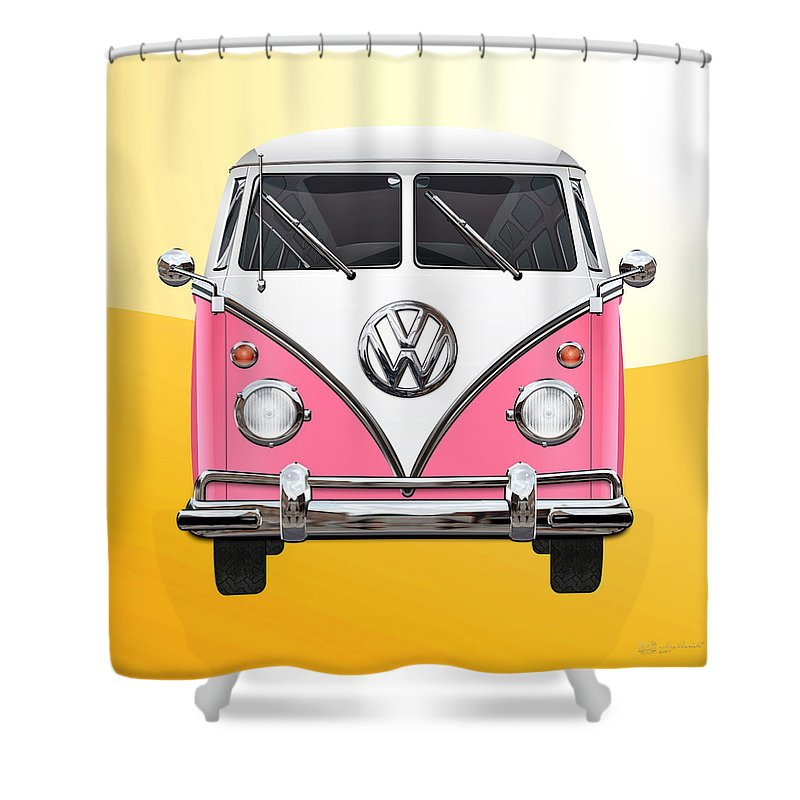 'volkswagen Type 2' Collection By Serge Averbukh Shower Curtain featuring the photograph Pink And White Volkswagen T 1 Samba Bus On Yellow by Serge Averbukh