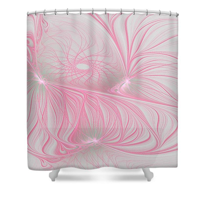 Fractal Shower Curtain featuring the digital art Pink Anyone by Deborah Benoit