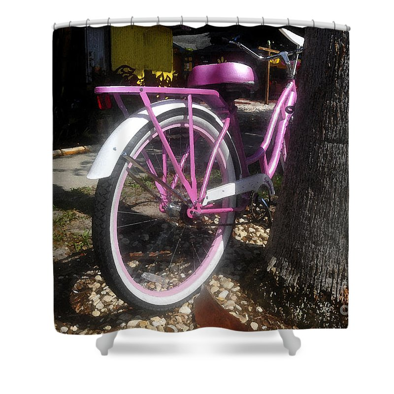 Pink Shower Curtain featuring the painting Pink Bicycle by David Lee Thompson