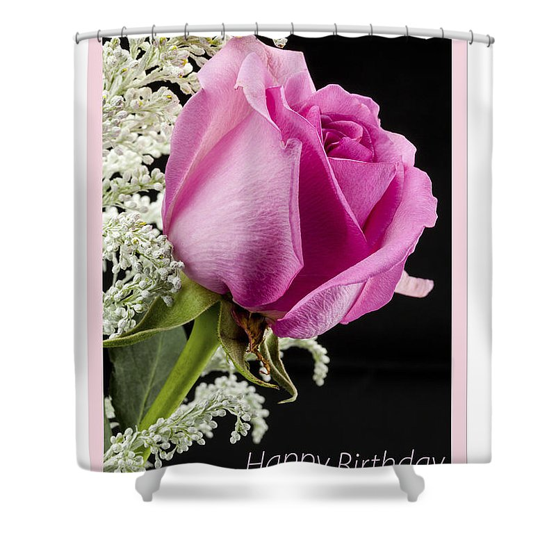 Flowers Shower Curtain featuring the photograph Pink Birthday Rose by Donna Crider