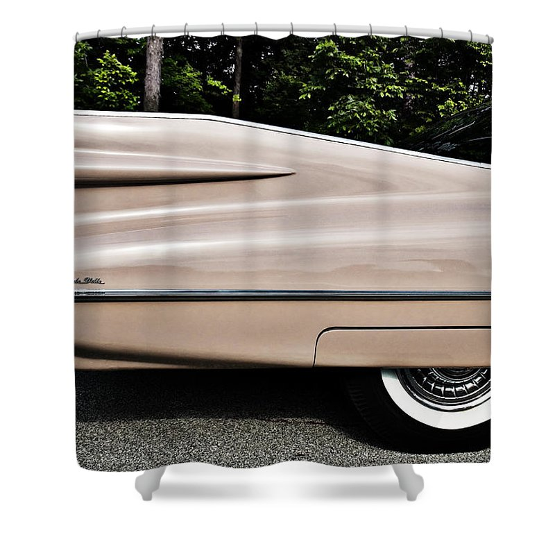 Cadillac Shower Curtain featuring the photograph Pink Caddy by Ken Matosky