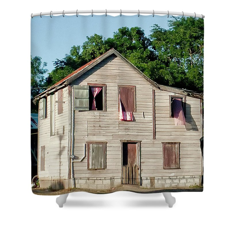 Large House Shower Curtain featuring the photograph Pink Curtains by Jessica Levant
