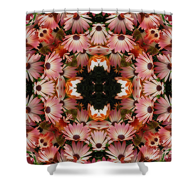 Daisy Shower Curtain featuring the digital art Pink Daisies Kaleidoscope by Smilin Eyes Treasures