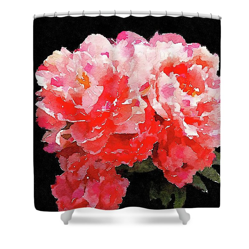 Flowers Shower Curtain featuring the painting Pink Delight by Jamie Holbrook