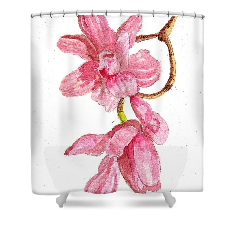Pink Shower Curtain featuring the painting Pink Dogwood by Miriam White