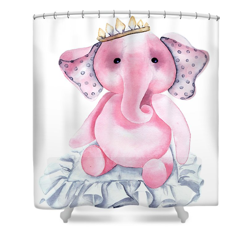 Watercolor Poster Shower Curtain Featuring The Painting Pink Elephant Princess By Marina Radyshevskaya