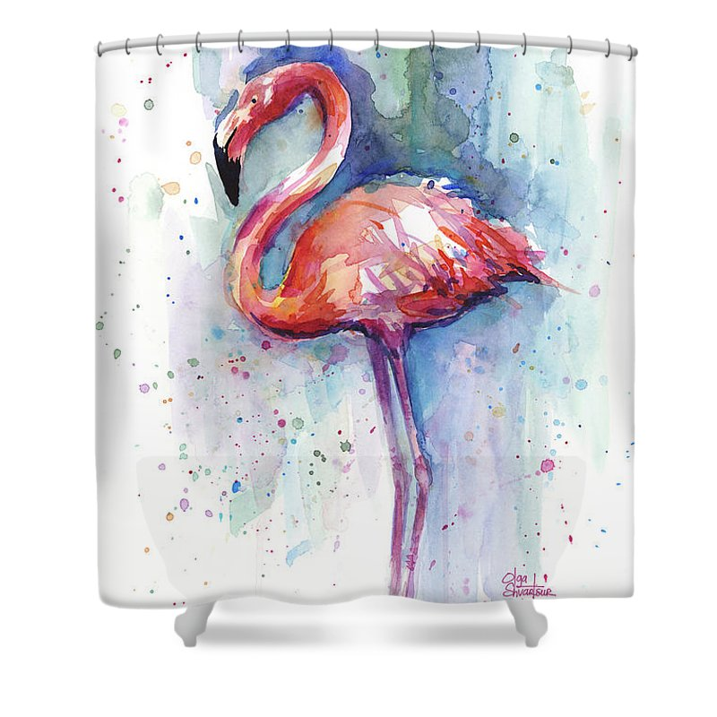 Pink Flamingo Watercolor Shower Curtain For Sale By Olga Shvartsur