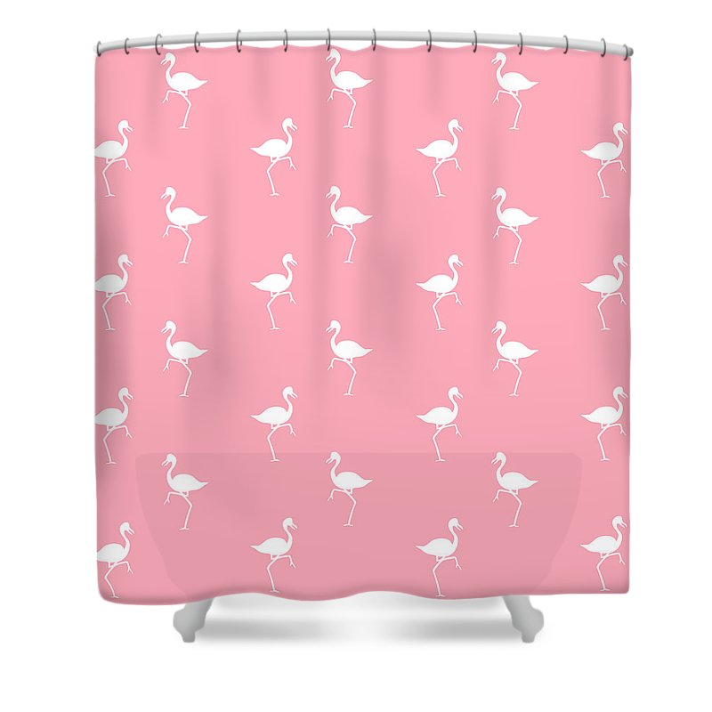Flamingo Shower Curtain featuring the mixed media Pink Flamingos Pattern by Christina Rollo