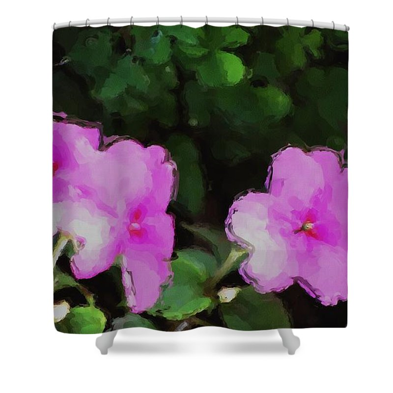 Digital Photograph Shower Curtain featuring the photograph Pink Floral Watercolor by David Lane