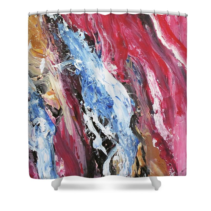 Abstract Shower Curtain featuring the painting Pink Flow Abstract by Lillian Bell
