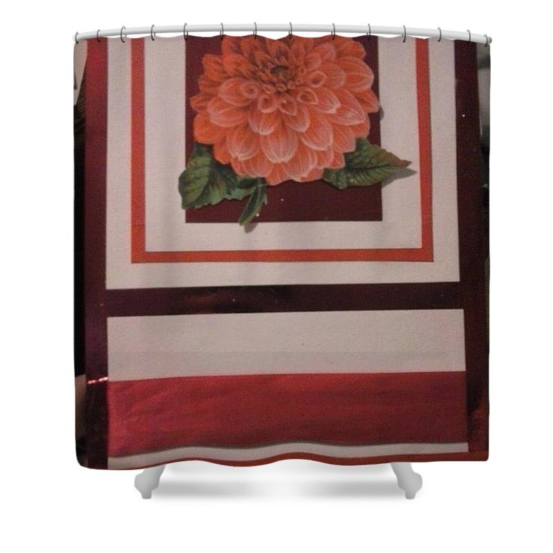 Pink Shades Greeting Card With Flower Shower Curtain featuring the mixed media Pink Flower Greeting Card by Cynthia Perkins