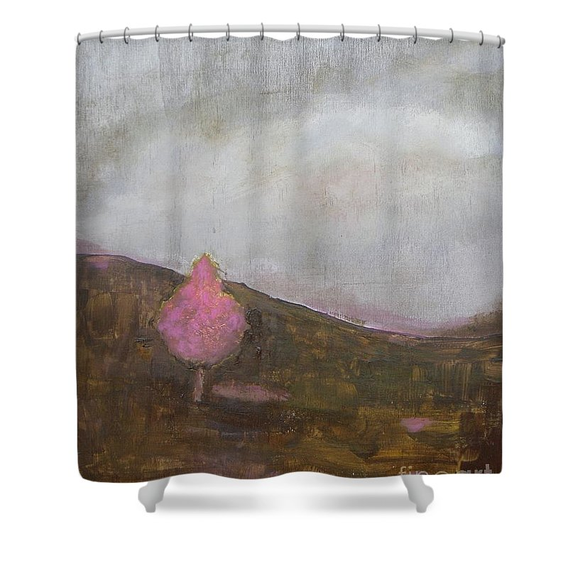 Landscape Shower Curtain featuring the painting Pink Flowering Tree by Vesna Antic