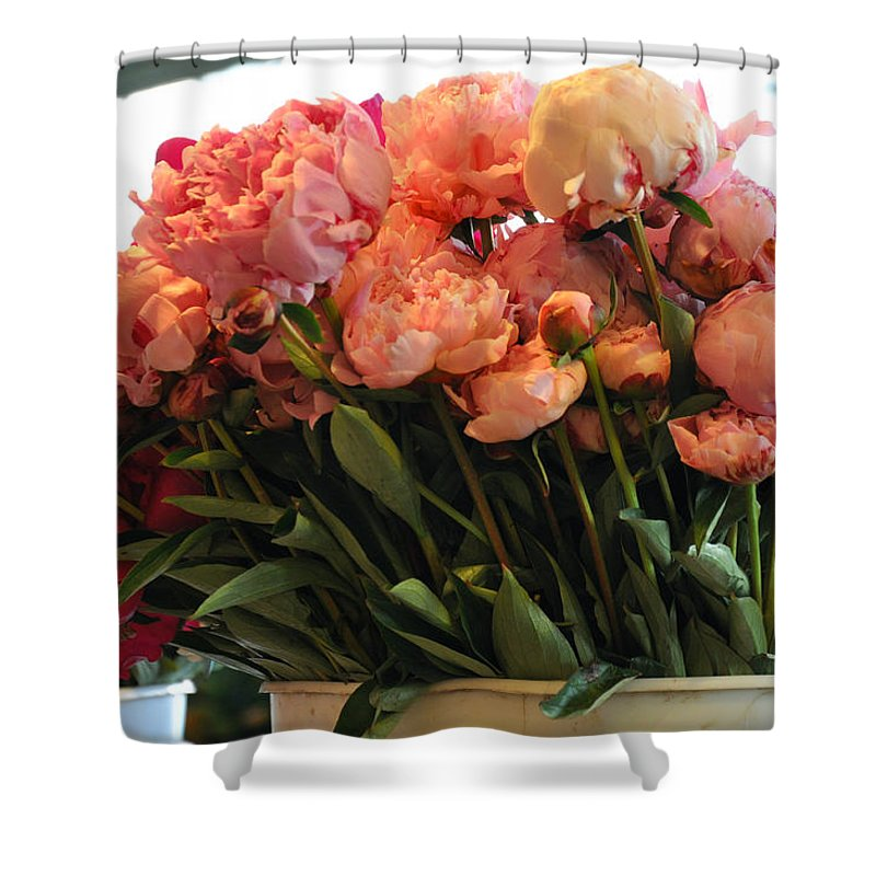 Peonies Shower Curtain featuring the photograph Pink Flowers At The Market by Caroline Reyes-Loughrey