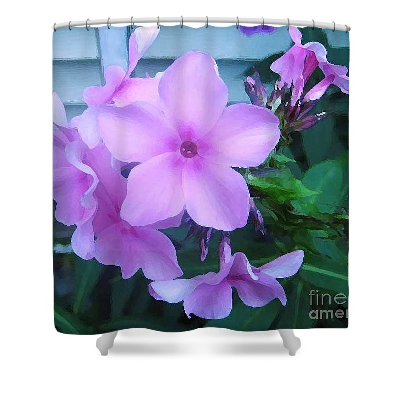 Pink Flowers Artwork Shower Curtain featuring the photograph Pink Flowers In The Garden by Reb Frost