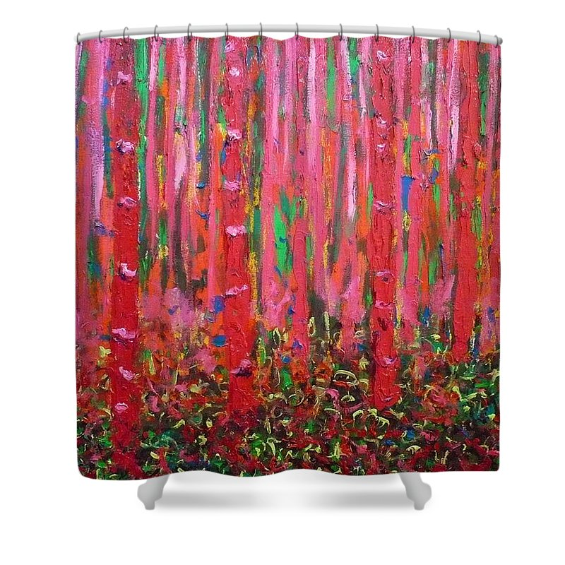 Pink Shower Curtain featuring the painting Pink Forest by Ericka Herazo