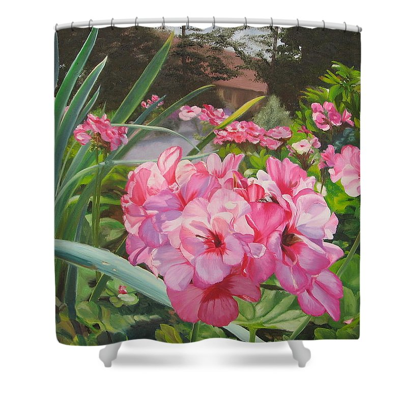 Pink Geraniums Shower Curtain featuring the painting Pink Geraniums by Lea Novak