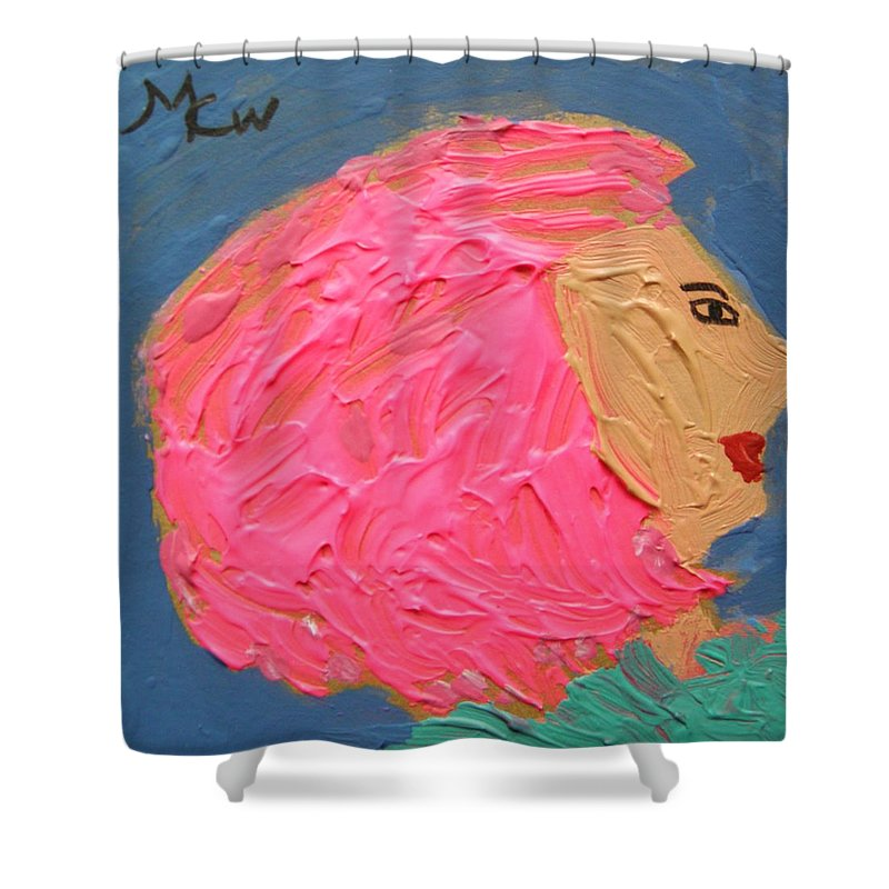 Pink Hair Shower Curtain featuring the painting Pink Hair by Mary Carol Williams