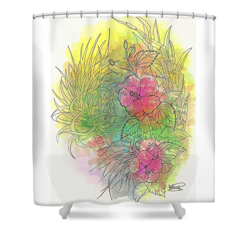 Flowers Shower Curtain featuring the drawing Pink Hibiscus by George I Perez