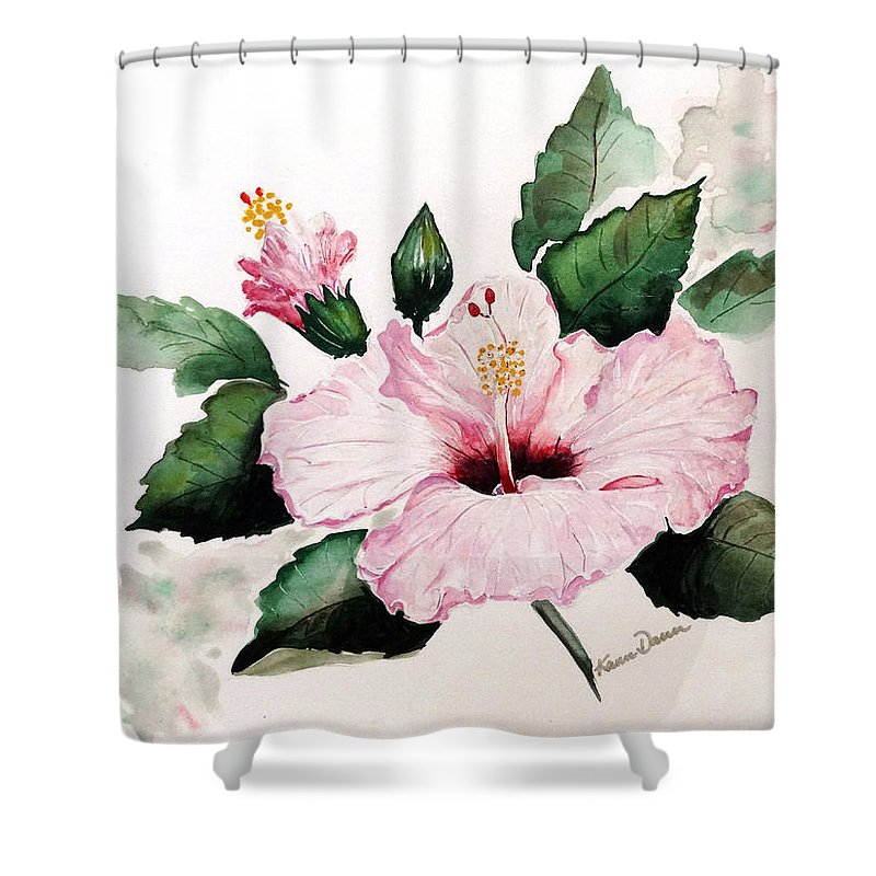 Hibiscus Painting  Floral Painting Flower Pink Hibiscus Tropical Bloom Caribbean Painting Shower Curtain featuring the painting Pink Hibiscus by Karin Dawn Kelshall- Best