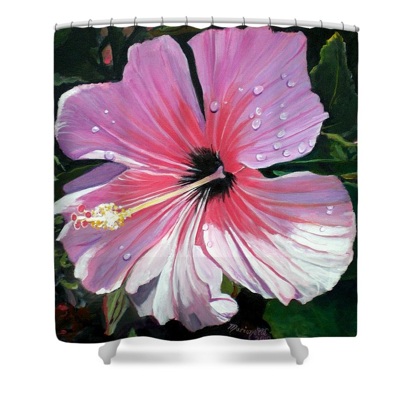Pink Shower Curtain featuring the painting Pink Hibiscus With Raindrops by Marionette Taboniar