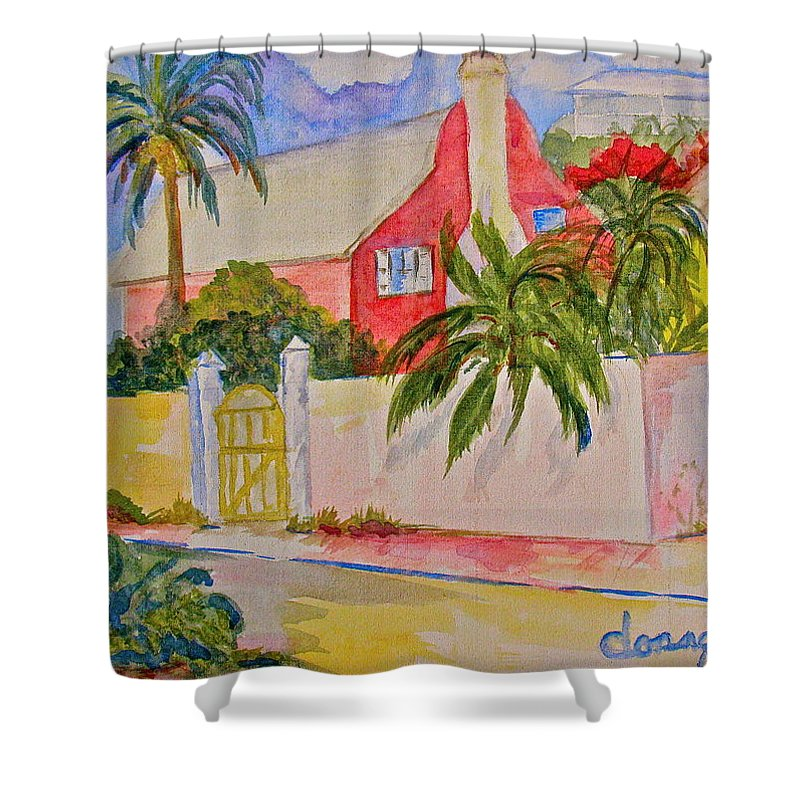 Island House Shower Curtain featuring the painting Pink House by Donna Steward