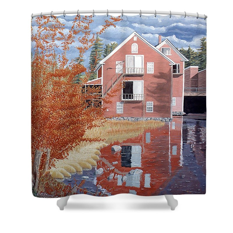 Autumn Shower Curtain featuring the painting Pink House In Autumn by Dominic White