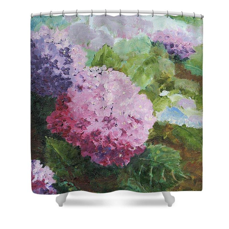 Hydrangeas Pink Flowers Floral Garden Shower Curtain featuring the painting Pink Hydrangea by Christina Maassen