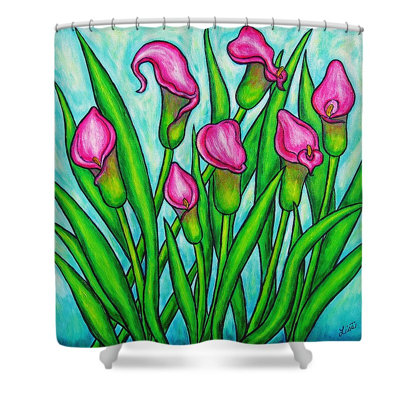 Lisa Lorenz Shower Curtain featuring the painting Pink Ladies by Lisa Lorenz