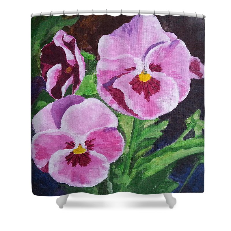 Pansy Shower Curtain Featuring The Painting Pink Pansies By Angelina Sofronova