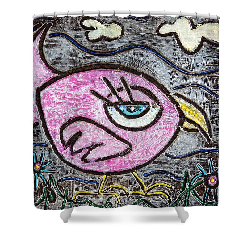 Animals Shower Curtain featuring the painting Pink Parrot by Laura Barbosa