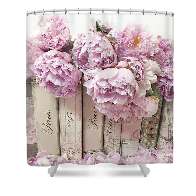 Pink Peonies Paris Books Romantic Shabby Chic Wall Art Home Decor Shower Curtain For Sale By Kathy Fornal
