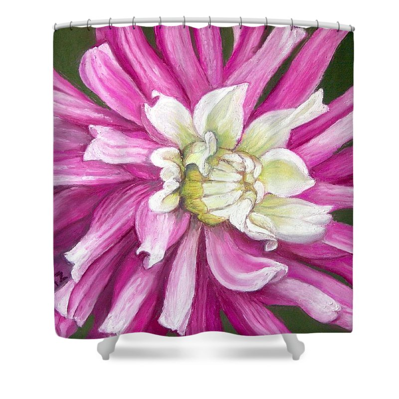 Floral Shower Curtain featuring the painting Pink Petal Blast by Minaz Jantz