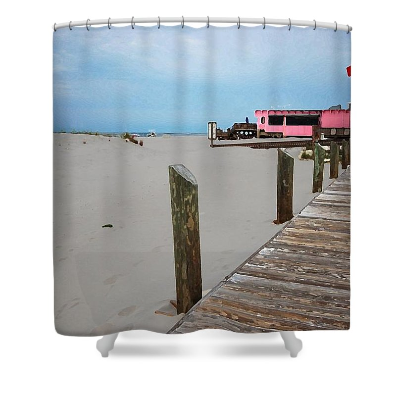 Fairhope Shower Curtain featuring the photograph Pink Pony And Boardwalk by Michael Thomas