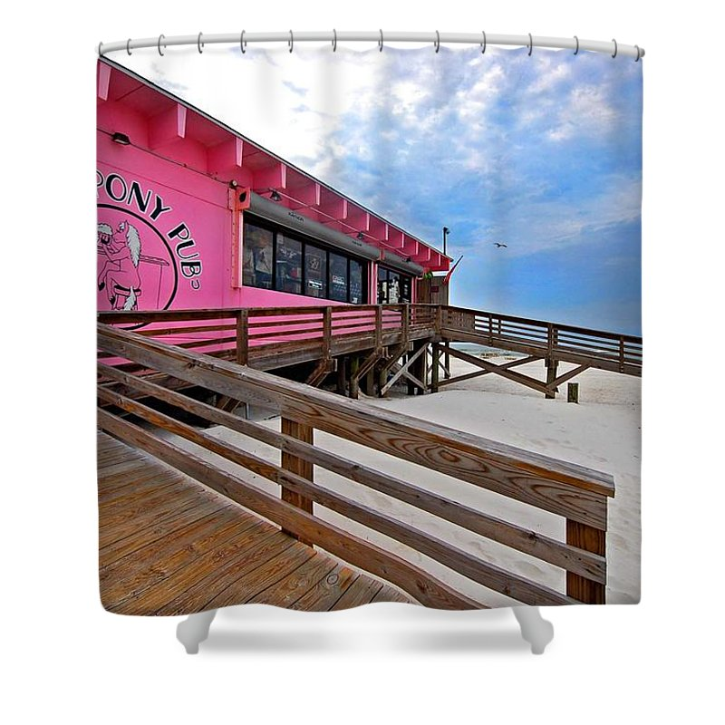 Fairhope Shower Curtain featuring the photograph Pink Pony by Michael Thomas