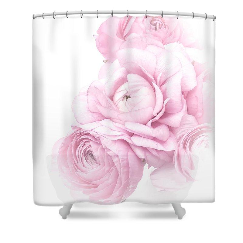 High Contrast Shower Curtain featuring the photograph Pink Ranunculus Bouquet by Susan Westervelt