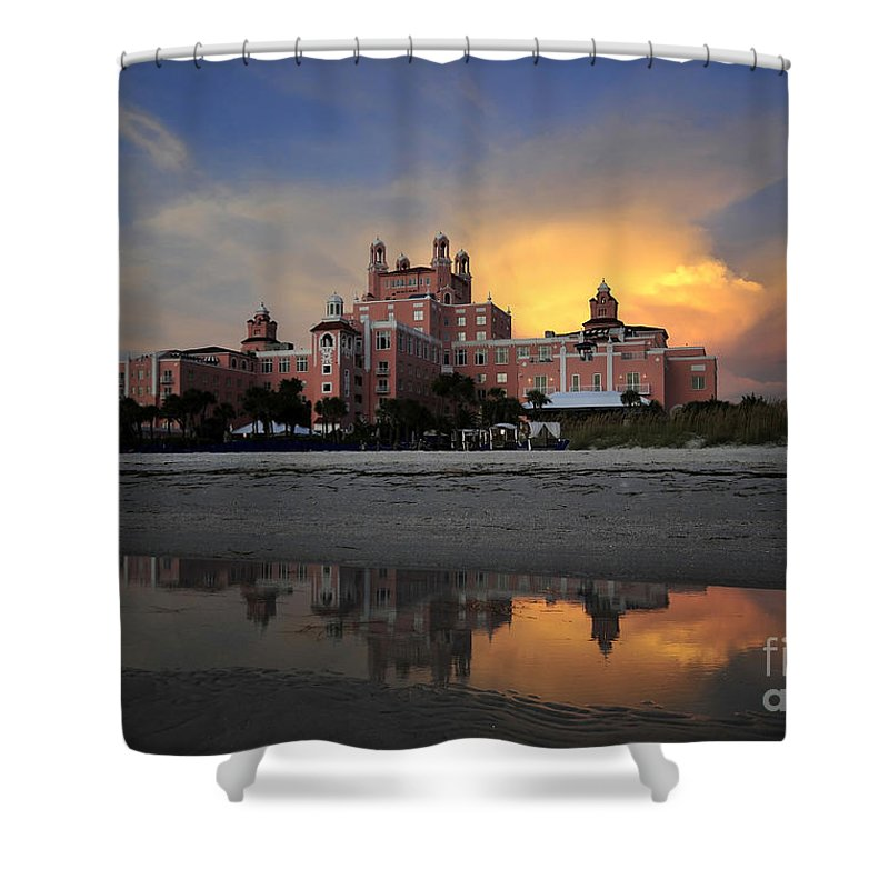 Don Cesar Hotel Florida Shower Curtain featuring the photograph Pink Reflections by David Lee Thompson