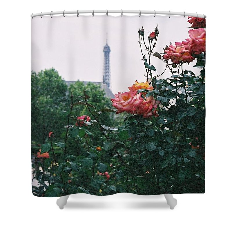 Roses Shower Curtain featuring the photograph Pink Roses And The Eiffel Tower by Nadine Rippelmeyer