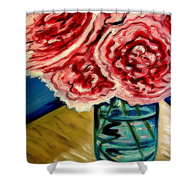 Floral Shower Curtain featuring the painting Pink Ruffled Peonies by Elizabeth Robinette Tyndall