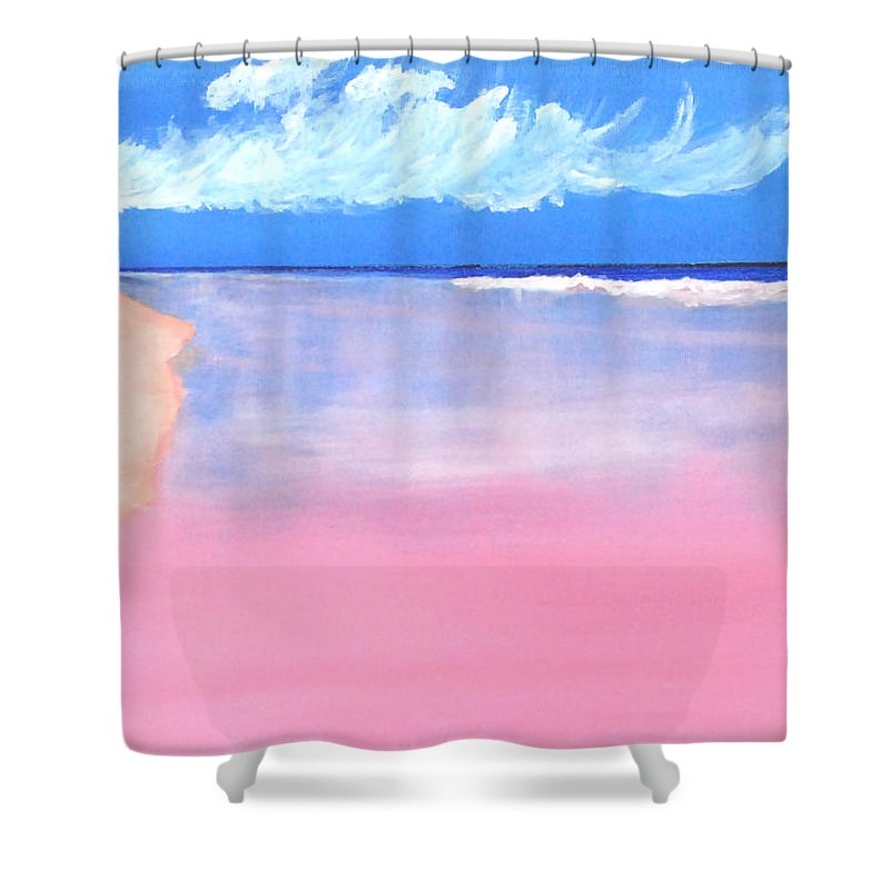 Seascape Shower Curtain featuring the painting Pink Sand In Harbor Island - Bahamas by Vincent Consiglio